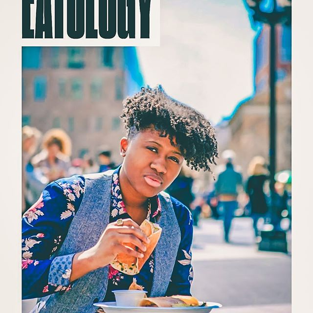 "Catch me in the #nycpride guide modeling for ""How the American Dream  Has Shaped the Way New Yorkers Eat"" article. I love that I'm doing the things I love best in this photo; eating and lookin' like a snack 😋✨!"