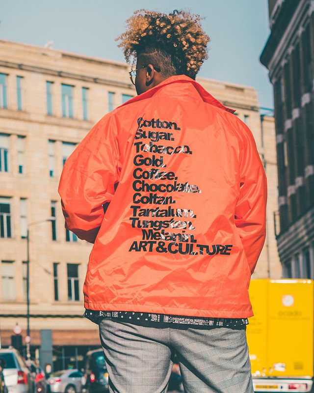 "Londoner: I love that jacket where did you get it from? I love how all the ""things"" are listed on the back Me: Thank you, it's called ""On our Backs"" as all of these ""things"" were made off the backs of black people Londoner: 👀  Thank you for creating a product that allowed me to snatch souls out in London 🙏🏾@gaiaearthpeace 📸@phoenixanderson"