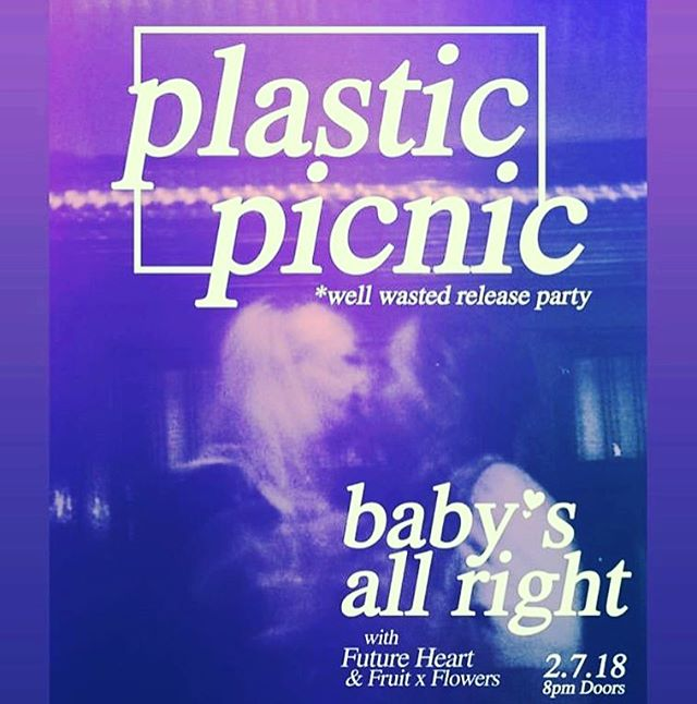 Show Announcement! We're back at it with our besties @plasticpicnic for their single release party at @babysallright Feb. 7 with @fruitxflowers!! This is not one to miss!! 💖💖💖💖
