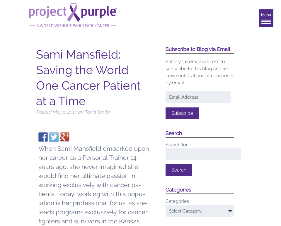 Purple Project - Sami Mansfield : Saving the World, One Cancer Patient at a Time.