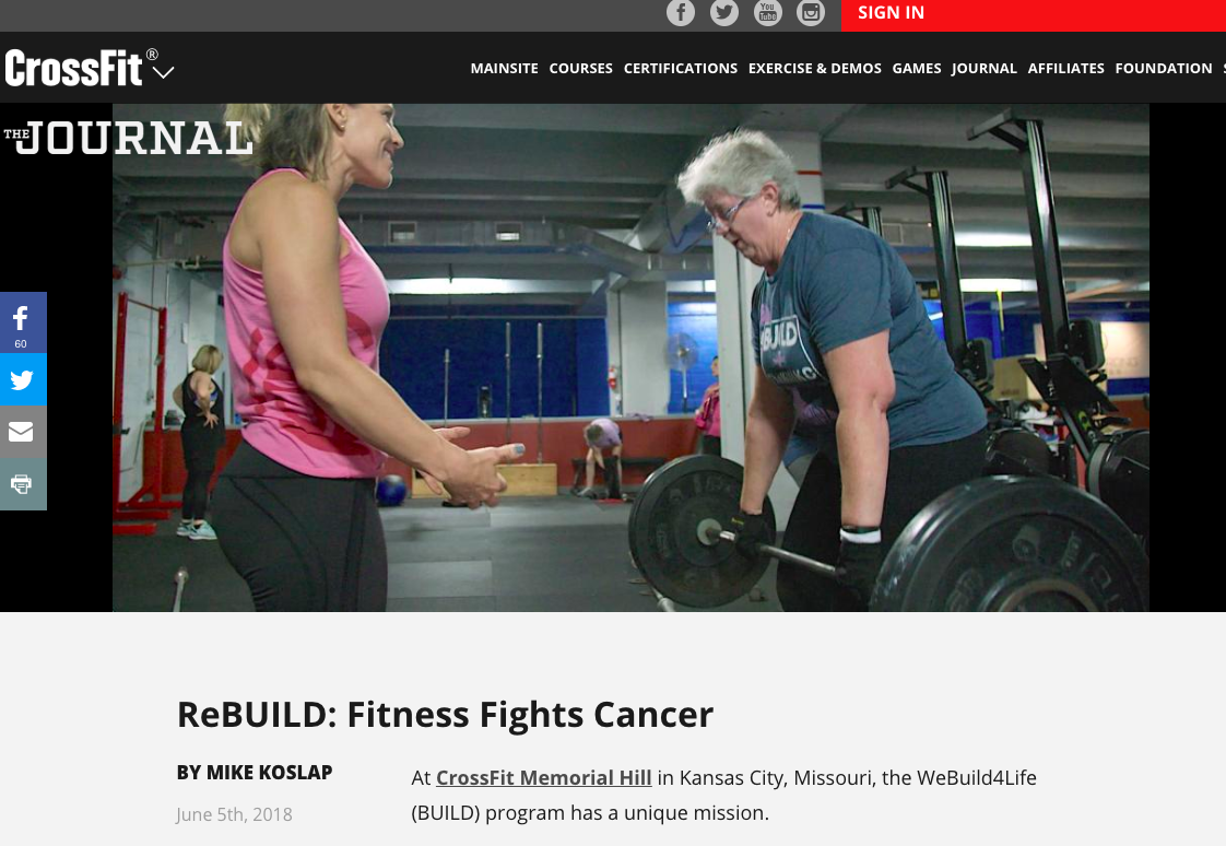 "ReBUILD: Fitness Fights Cancer - ""We have the same methodologies of CrossFit—functional fitness, constantly varied, high intensity—but we focus our programming on the specific needs of cancer survivors,"" says Sami Mansfield, co-founder of BUILD."
