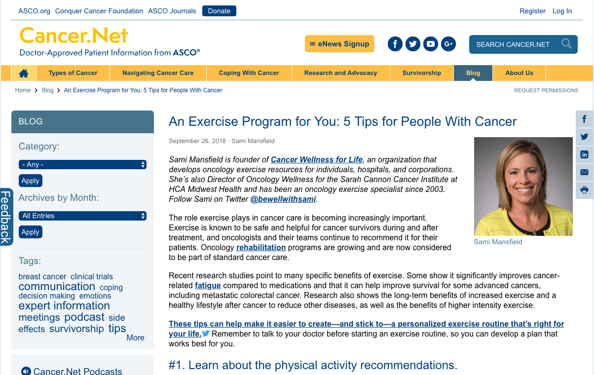 An Exercise Program for You: 5 Tips for People With Cancer - The role exercise plays in cancer care is becoming increasingly important. Exercise is known to be safe and helpful for cancer survivors during and after treatment, and oncologists and their teams continue to recommend it for their patients.