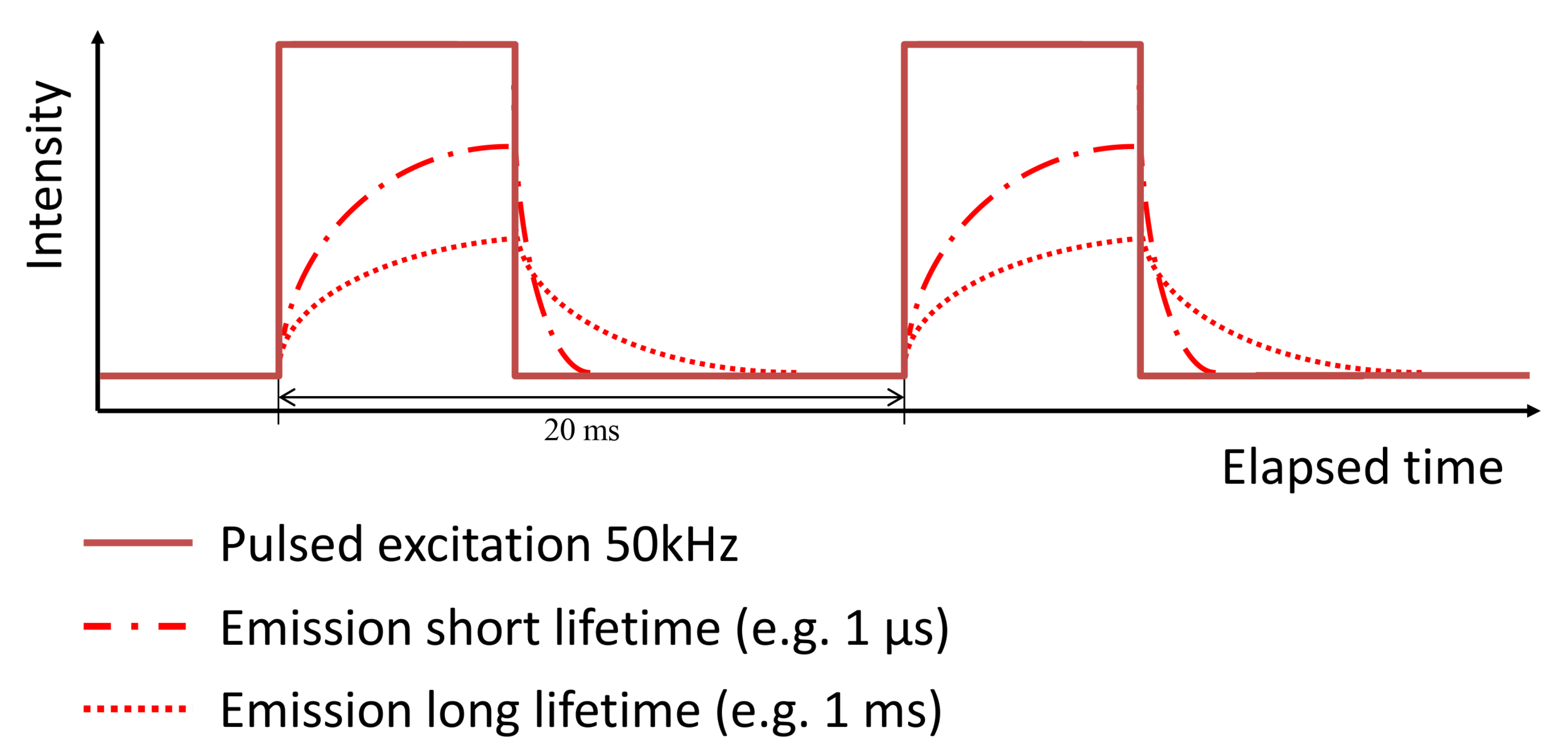 Figure 5. Frequency domain FLIM using a pulsed lightsource results in a block wave excitation and emission pattern.