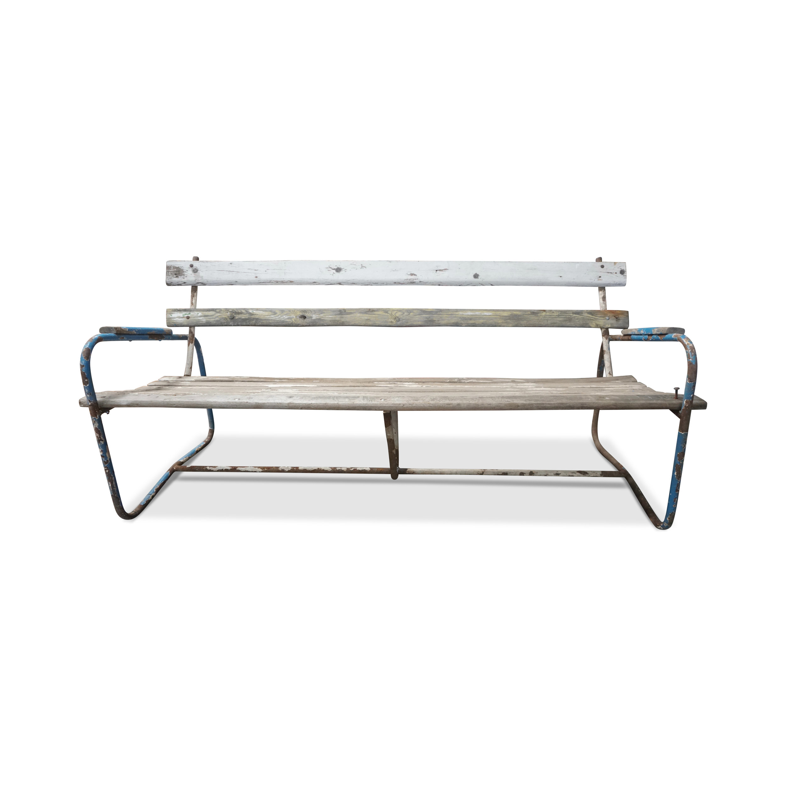 Vintage Outdoor Metal and Wood Bench