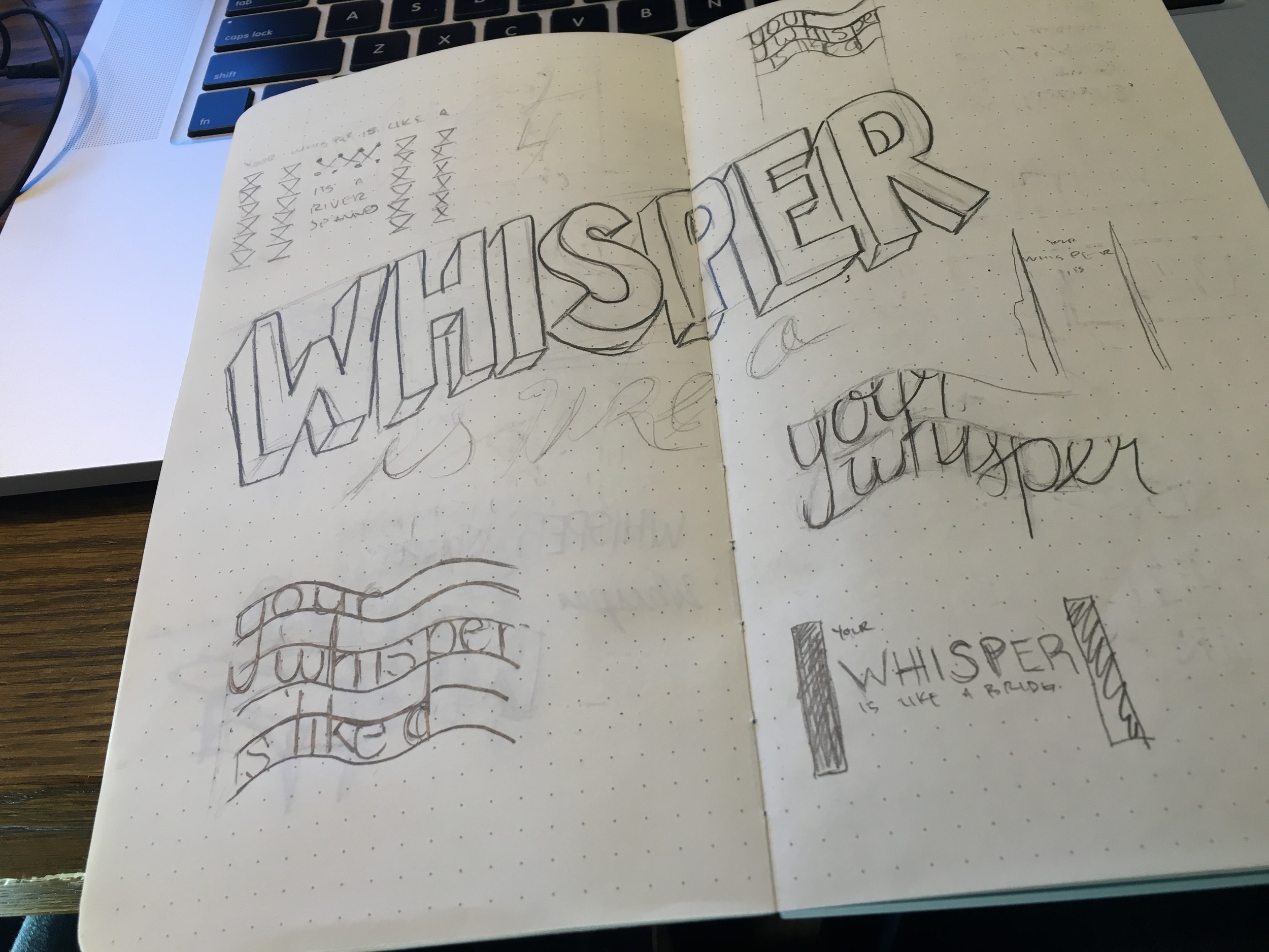 Thumbnailed typography ideas for the lyric design challenge.