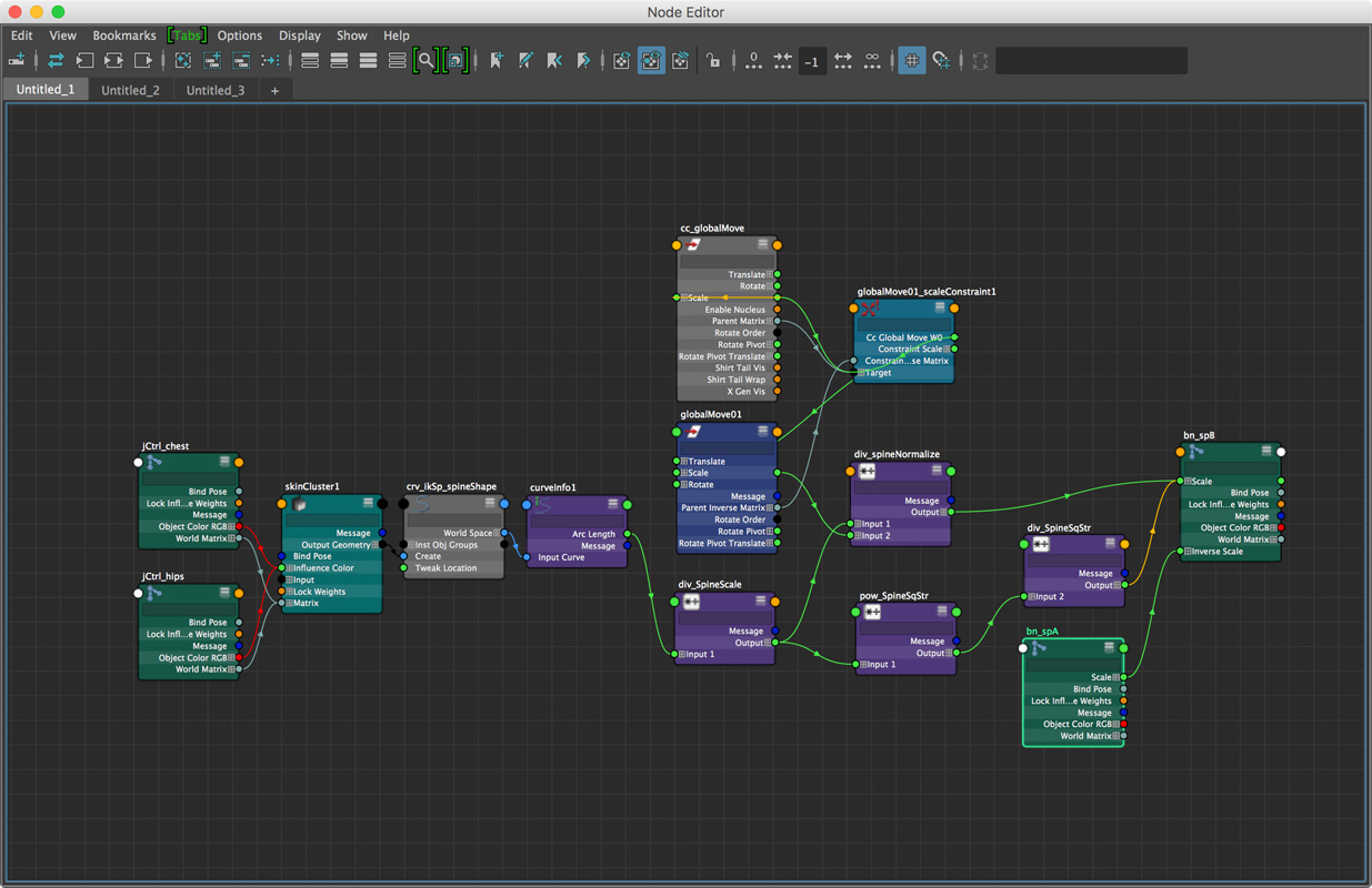 Node editor for one joint in the spine. Most of this is just controlling squash and stretch.