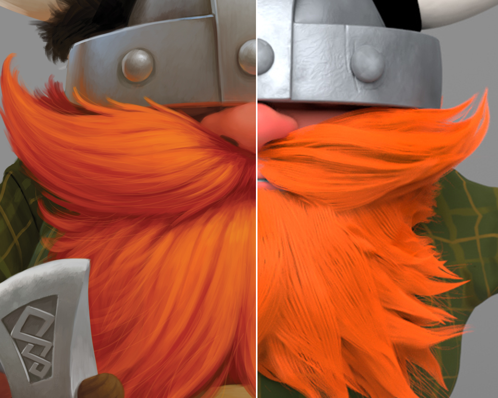 The original beard illustration compared to the initial beard groom.