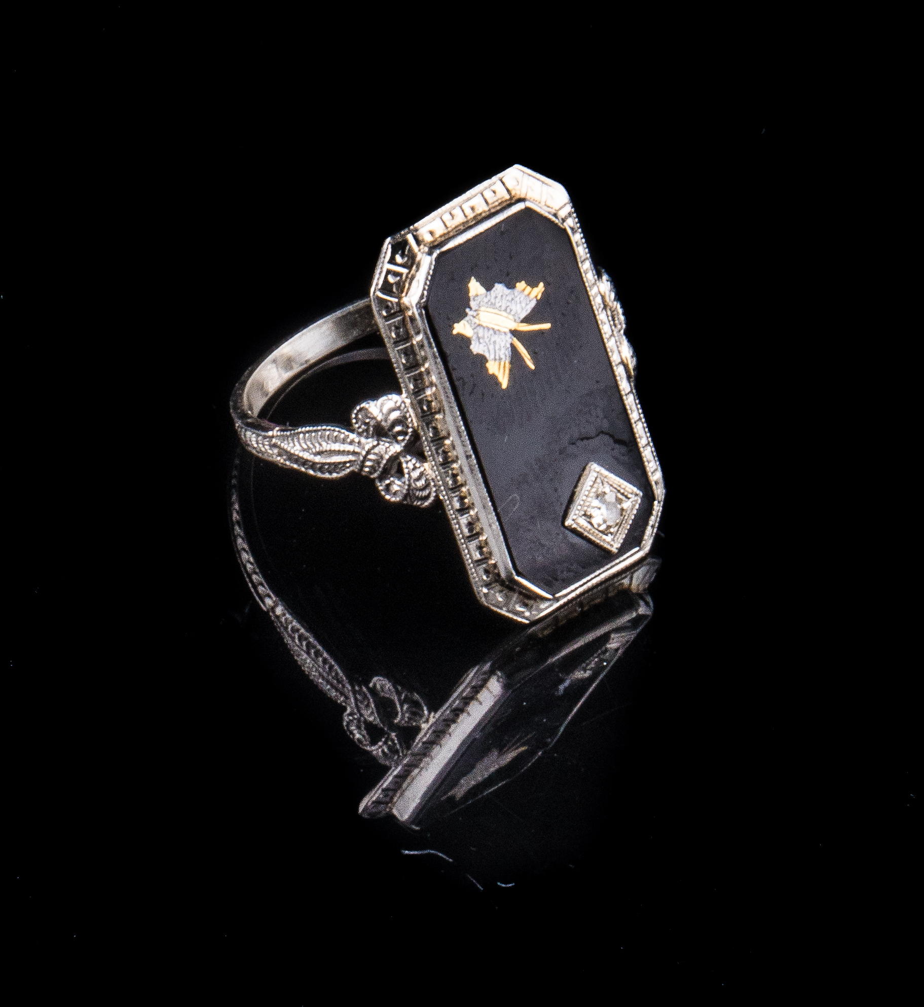 14kt Art Deco onyx ring with a yellow gold and white gold inlayed butterfly and diamond accent