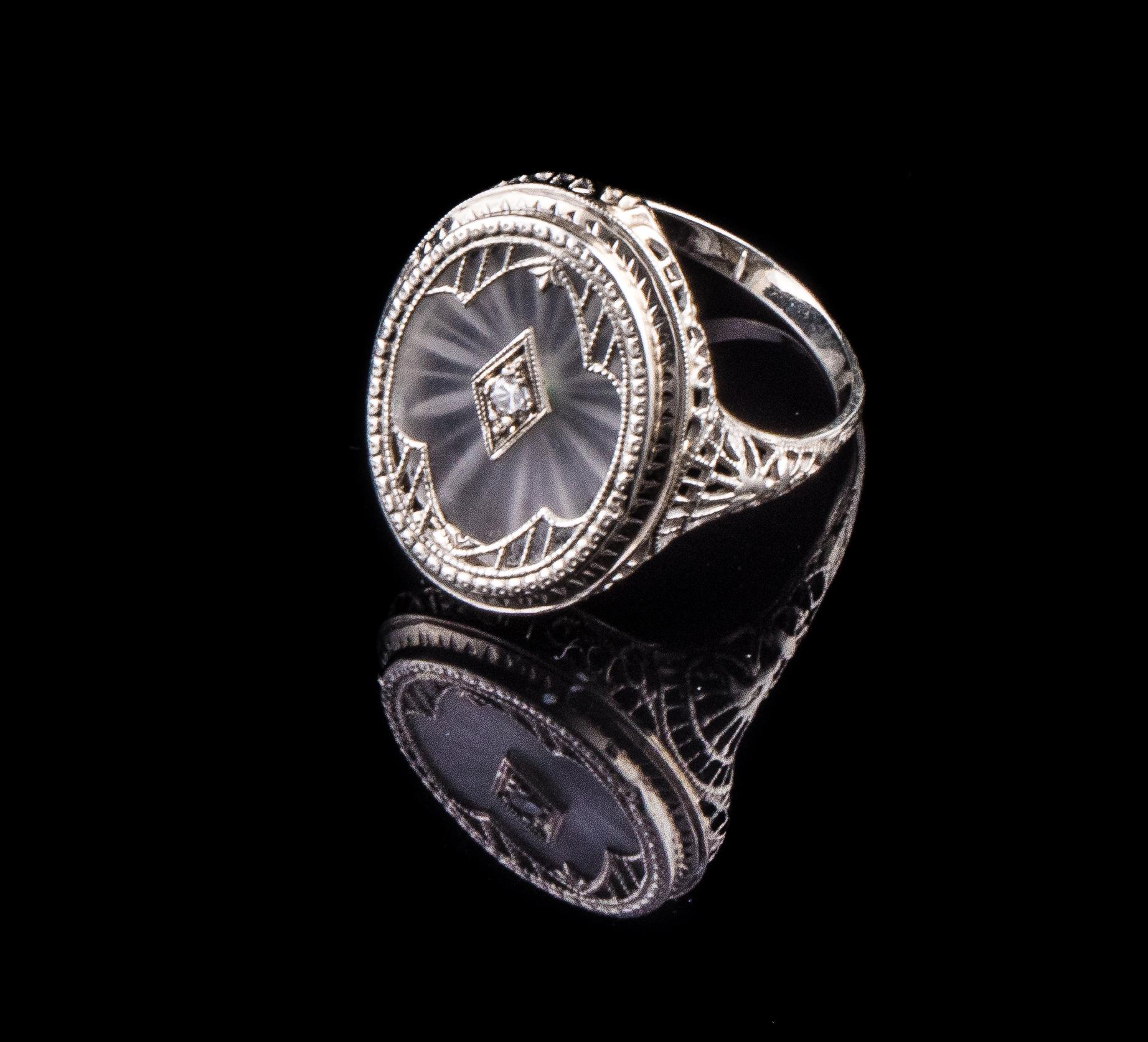 Art Deco 14kt crystal single cut