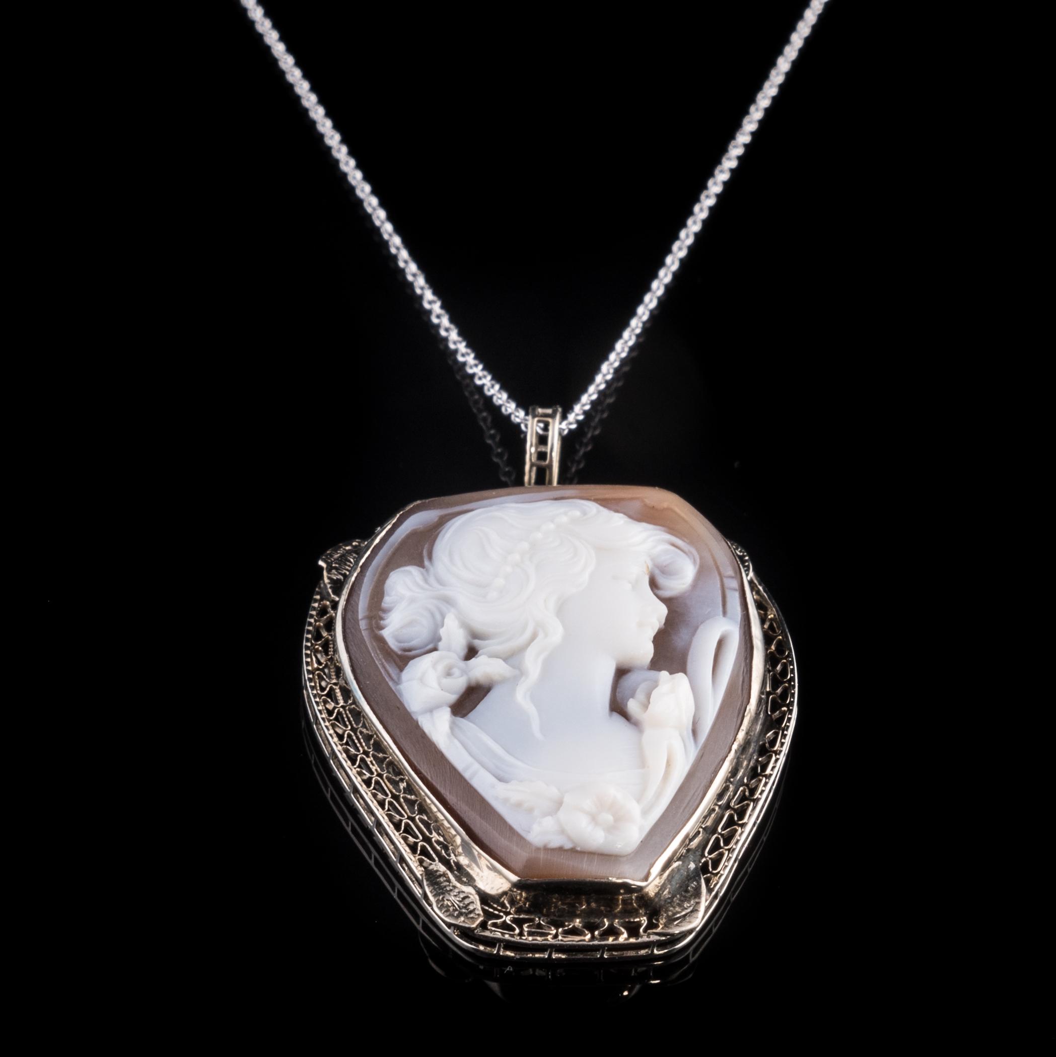 ESTATE 14K white gold shell cameo necklace with filigree circa 1920s