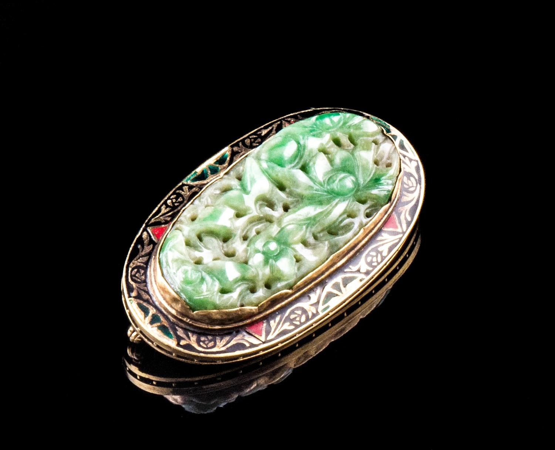 14kt Art Deco enameled jade brooch
