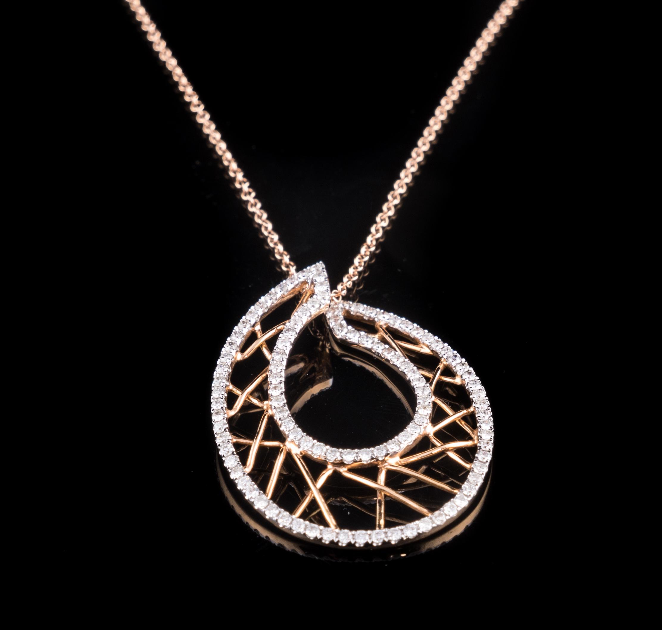 18kt rose gold and Diamond modern web design pendant..jpg