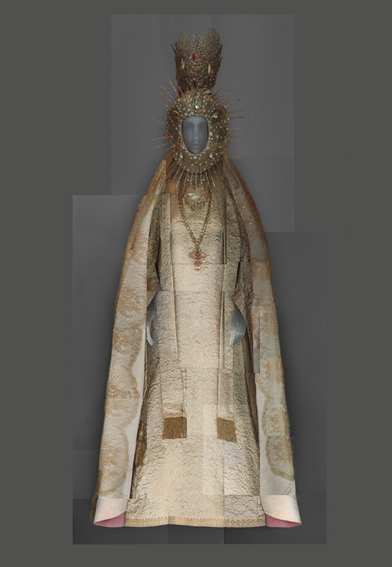 Yves Saint Laurent. Statuary vestment for the Virgin of El Rocío, ca. 1985. Courtesy of Chapelle Notre-Dame de Compassion, Paris. Digital composite scan by Katerina Jebb