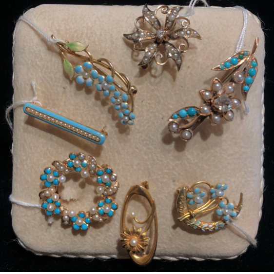 Victorian forget-me-not pins