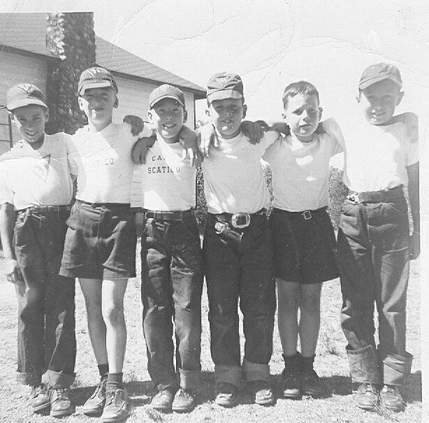 Bunk 4 in 1953: middle two campers are Scooter Schneider and Dennis Plehn