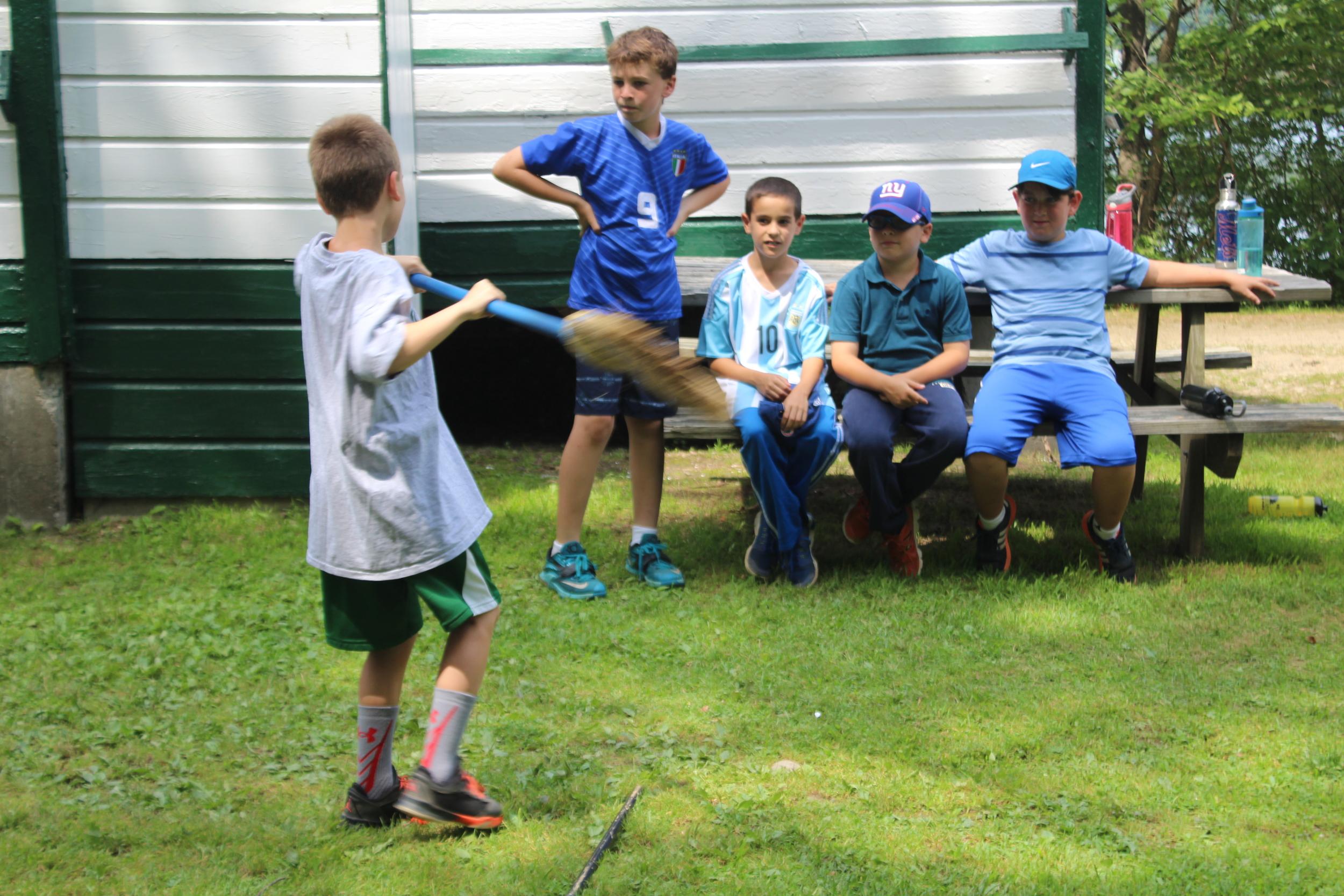 Soph boys observe the broom toss in All Stars.