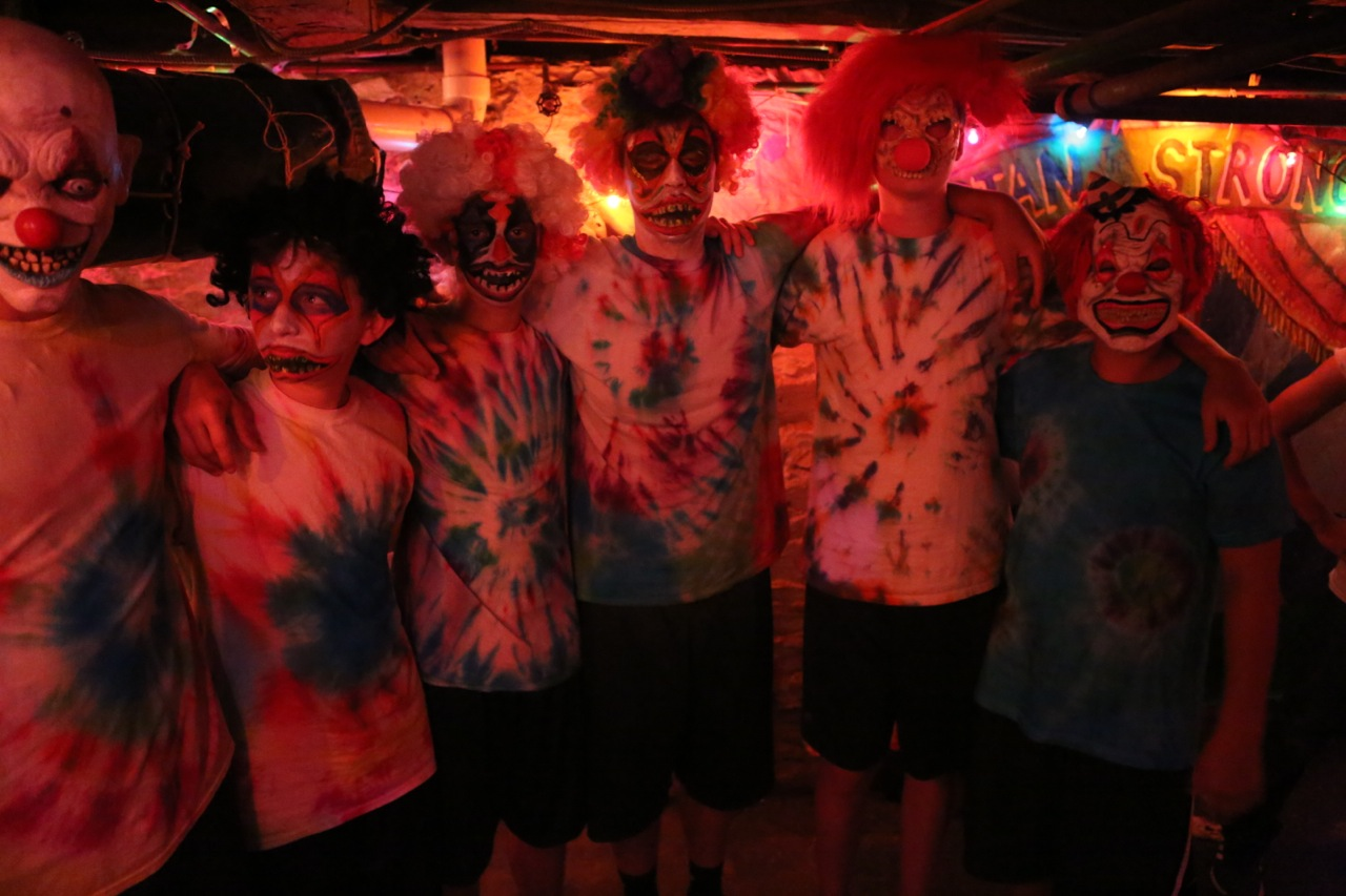 Upper Seniors in their circus-themed haunted house.