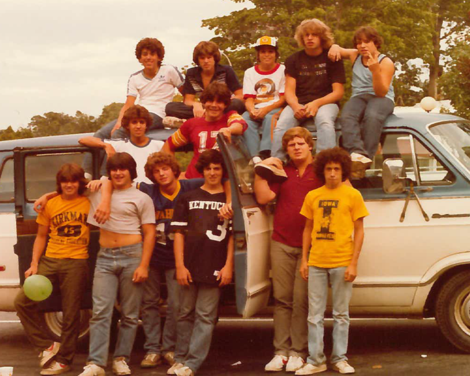 From  Larry Flede r—1981 Upper Seniors get ready to go on their end-of-summer overnight trip.