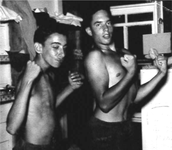 From  Dennis Rinzler — 1950s:  Ira Briskman  and  Dennis  are flexing their muscles.