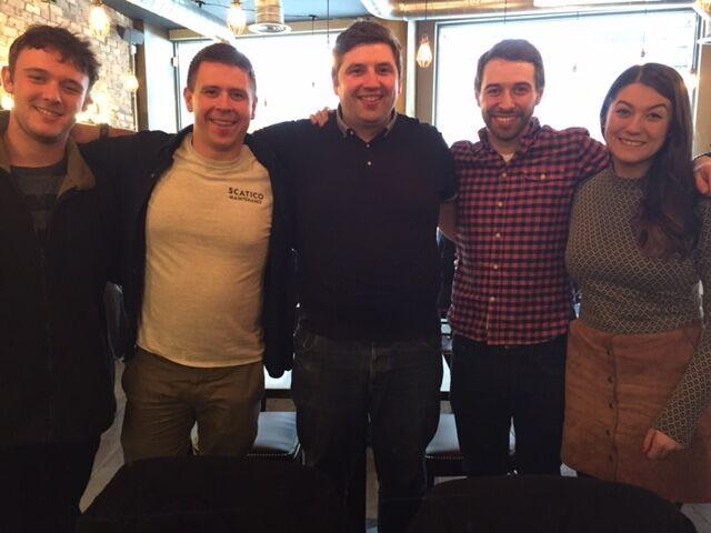 Bryce (far left) in London