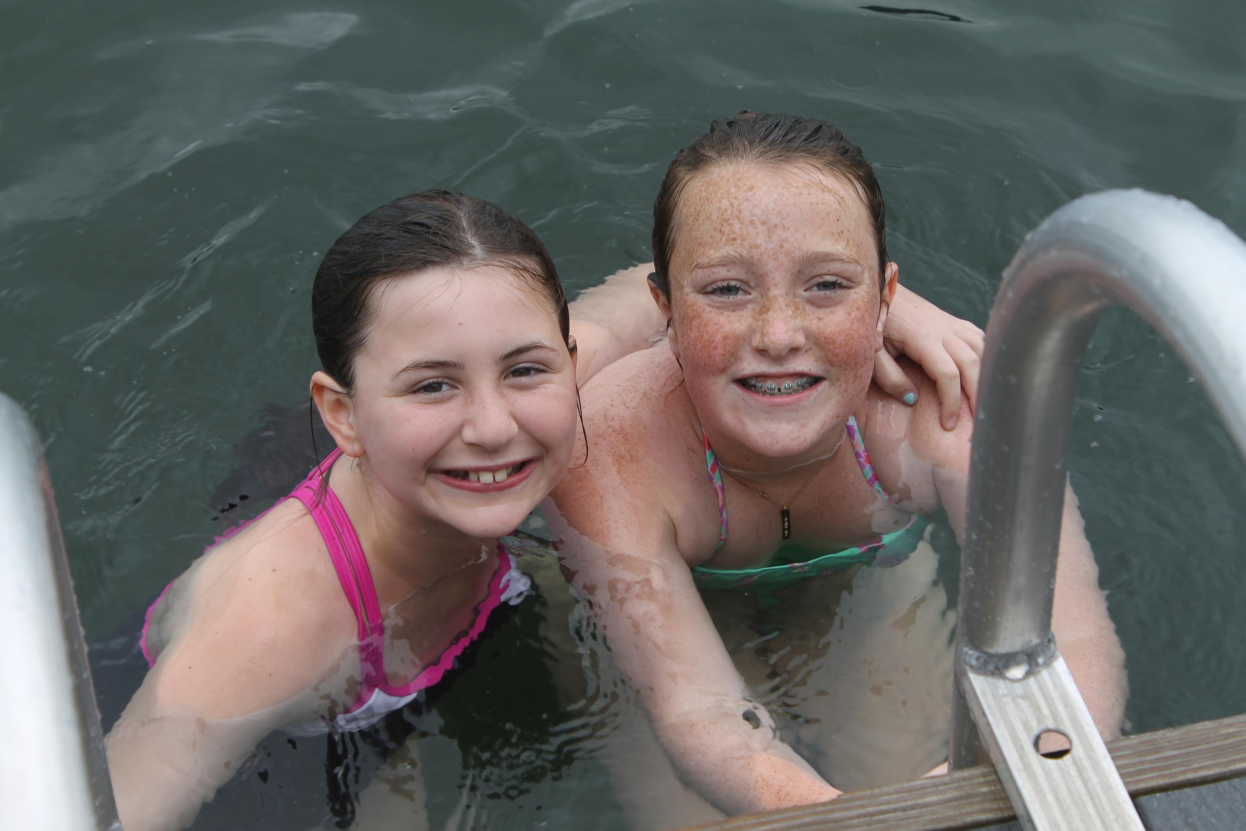 Inter girls at swim instruction.