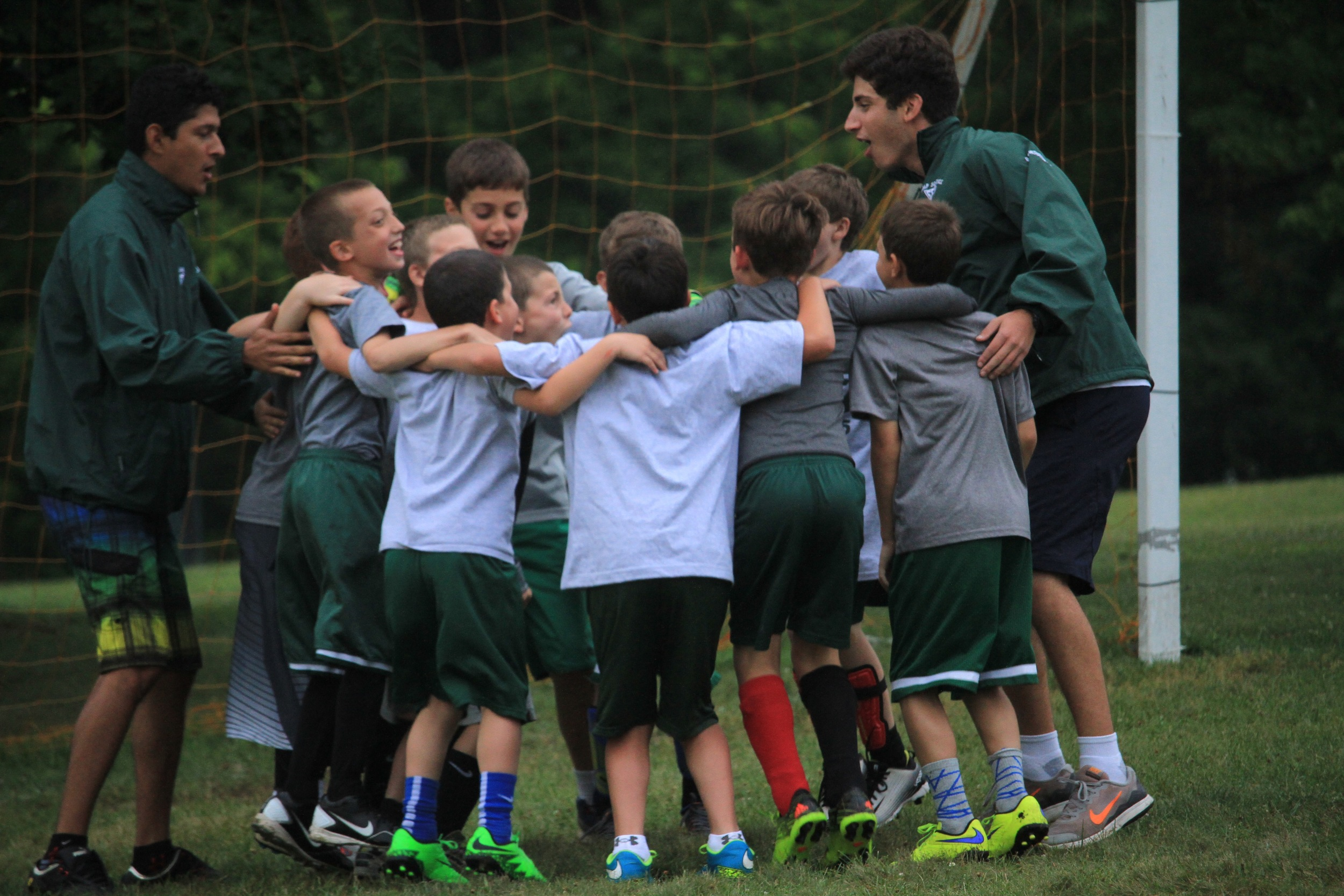 Team huddle during lower hill soccer leagues