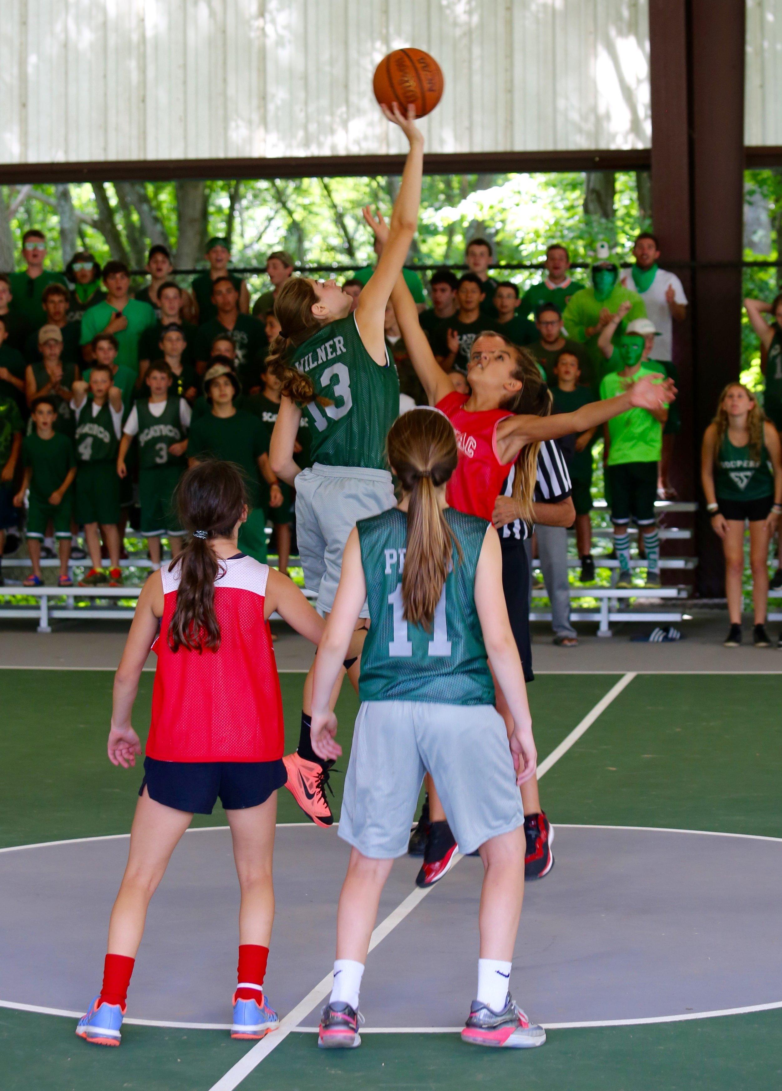 Opening tip of the girls' Nat Holman Basketball Tournament ( Kasey  showing some hops).