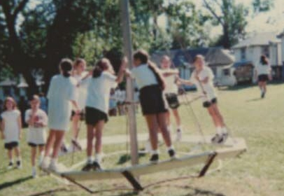 The Merry-Go-Round (also known as The Vomit Wheel) was no longer a fixture on girls back campus by the early 2000s (and our insurance company did not complain).