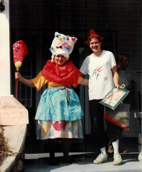 1989: Film Program Director  John Hickey  with  Bertha Blai  on the 200th anniversary of Bastille Day. Bertha ran the ceramics program for 10 summers in the 1980s and 1990s, starting her Scatico career at the age of 76.