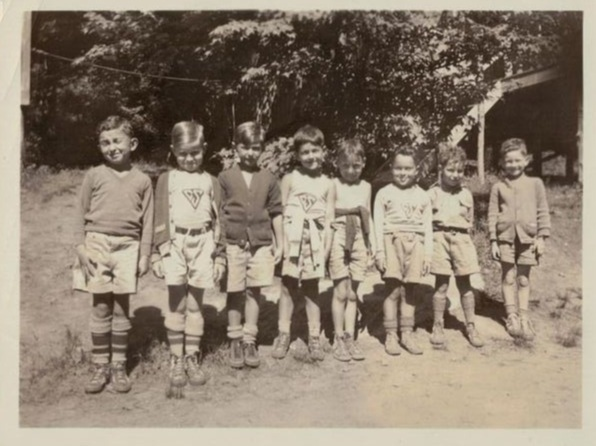 """1933— """"Pioneer"""" Division Before the move to Elizaville, shorts with belts, triangle """"CS"""" in white on green (not green on white), and """"sensible"""" walking shoes."""