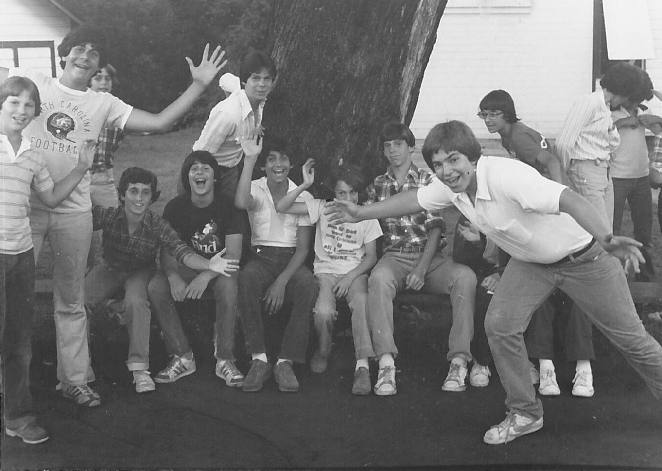 1979—  Mike Madorsky  sent in the photo to the left. From left to right (roughly): Rod Friedman, Jeff Bernfeld, Steven Ross (behind Jeff's left shoulder), Jay Cannold, Mike, Rob Levene, Andy Ney, Matt Penn, Fred Eisman, David Wagman, and Lance Gould.