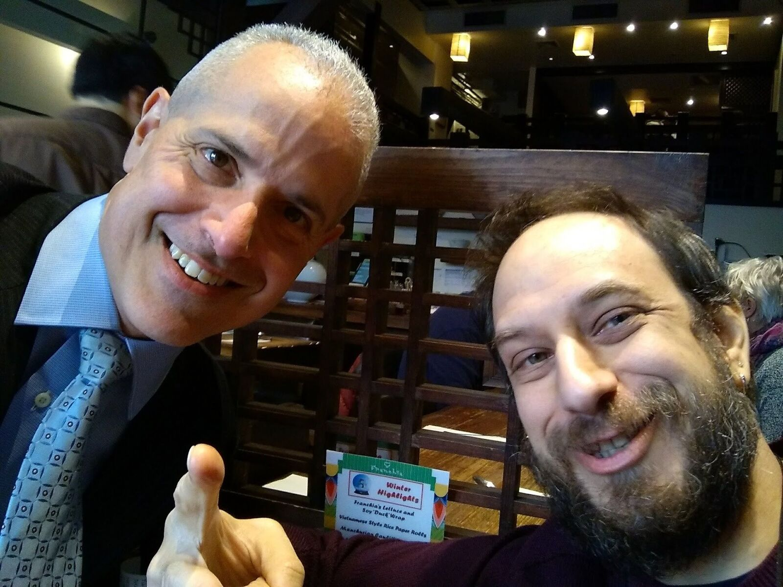 """NEW YORK   Divisionmates  Adam Birbrower  (1980-86) and  Adam Schefflan  (1981-89) met for lunch in New York City last spring and sent in the photo to the right. Adam Schefflan spends much of his summer in Rhinebeck, where he works part-time as a Lyft driver. A call for a pickup at a certain location in Elizaville """"was inevitable."""" His dad  Ralph Schefflan  worked at Scatico from 1954-57 and played basketball under Nat Holman at CCNY."""