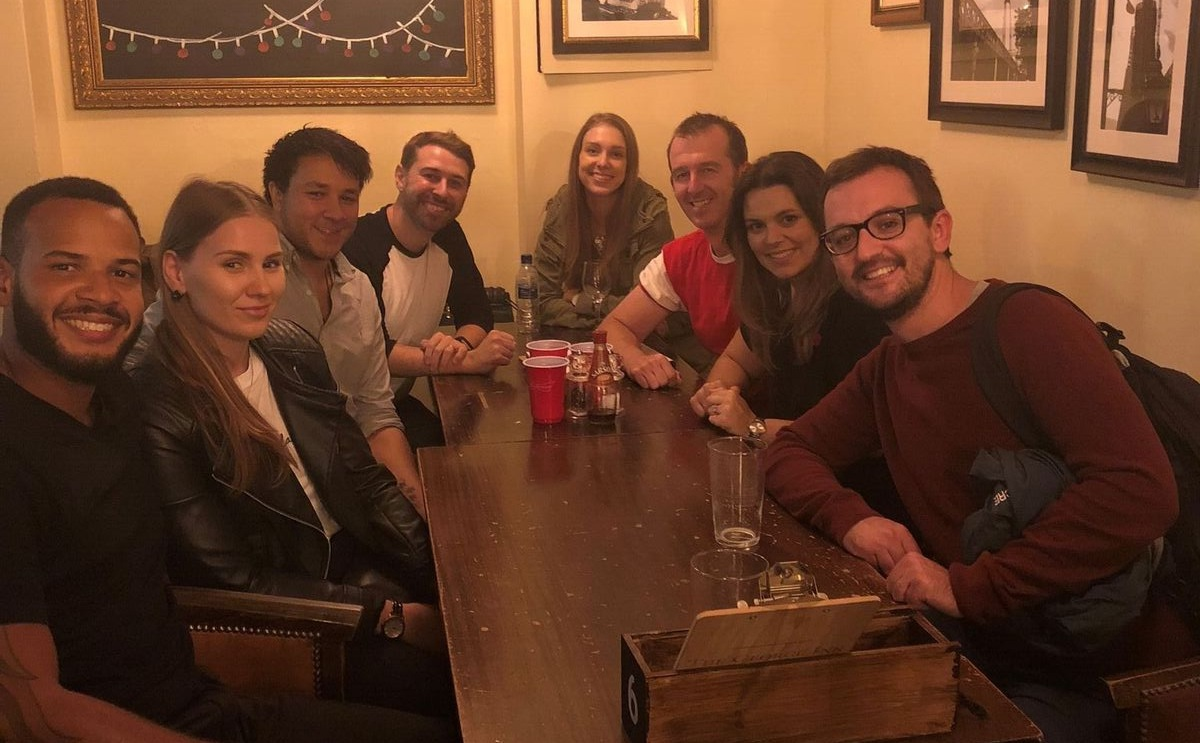 LONDON   When  Moises Torres  (2013-18), the assistant head of girls athletics, and Support Staff member  Katie Simova  (2016-18) vacationed in London after the summer they were welcomed by 5 former division leaders (variously 1990s-2010s)— Liam Duffy, Matty Carroll  (current assistant head counselor),  Kael Au Carroll, Jim Hosking  (twenty Scatico summers and counting), C aroline Chambers , and  Nick Goodacre . Two Scatico marriages were represented: Matty and Kael; Jim and Caroline.