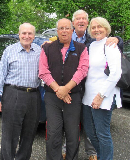 NEW JERSEY   When  Steve Hanft  (1955-74) traveled with his wife  Annelie  from their home in Bielefeld, Germany, to the United States in May, he, of course, made time to visit Scatico friends. In the photo to the right, Steve and Annelie are joined by  Jack Atkins  (1955-69), and  Marc Hellman  (1960-71).