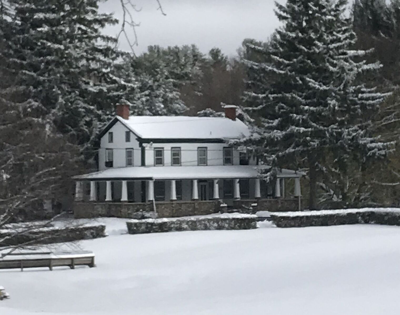 The first snowfall  of the off-season arrived early this year—pre-Thanksgiving (November 16 for all you record-keepers). Thanks to caretaker Teddy Lydon for the photo. Within a few days, temperatures were up over 50 degrees and the snow completely melted.