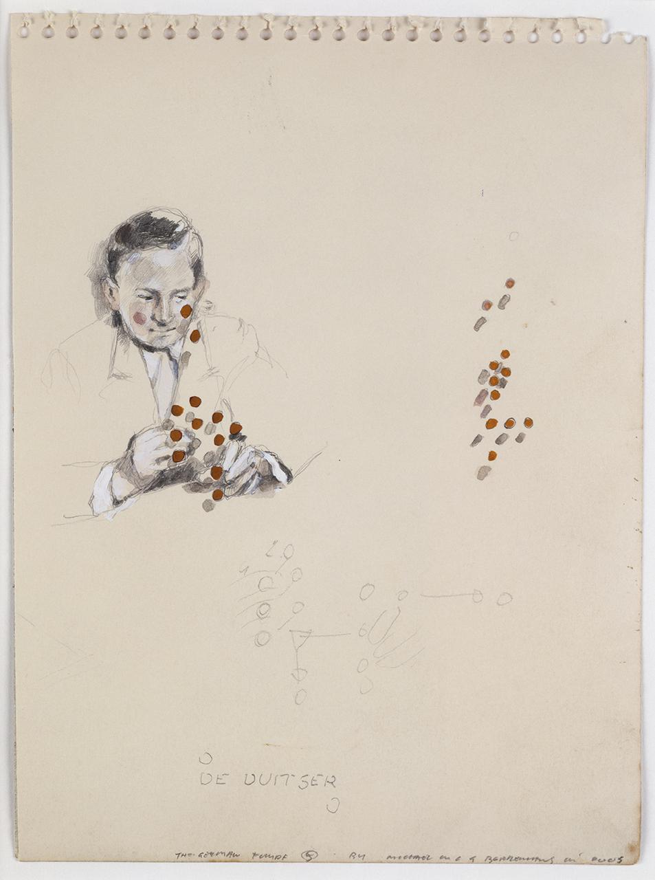 Michael Borremans  ,  The German   , 2003, pencil and gouache on cardboard