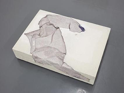 Marie Lund,    Torso   , 2014, concrete and cotton, 70x15x40cm