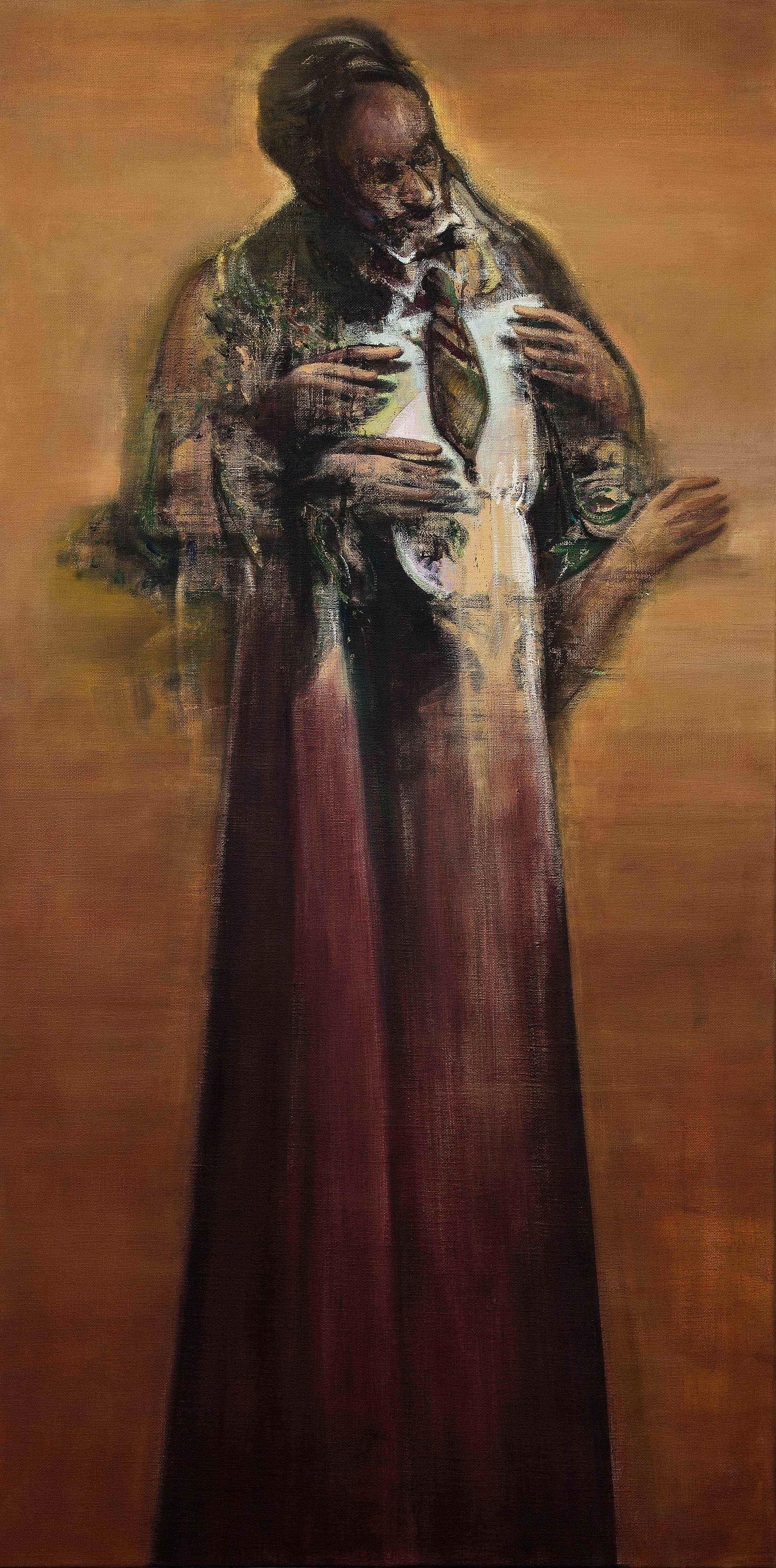 Nikos Aslanidis, The Orator (Alchemist), 2016, oil on linen, 200 x 100 cm