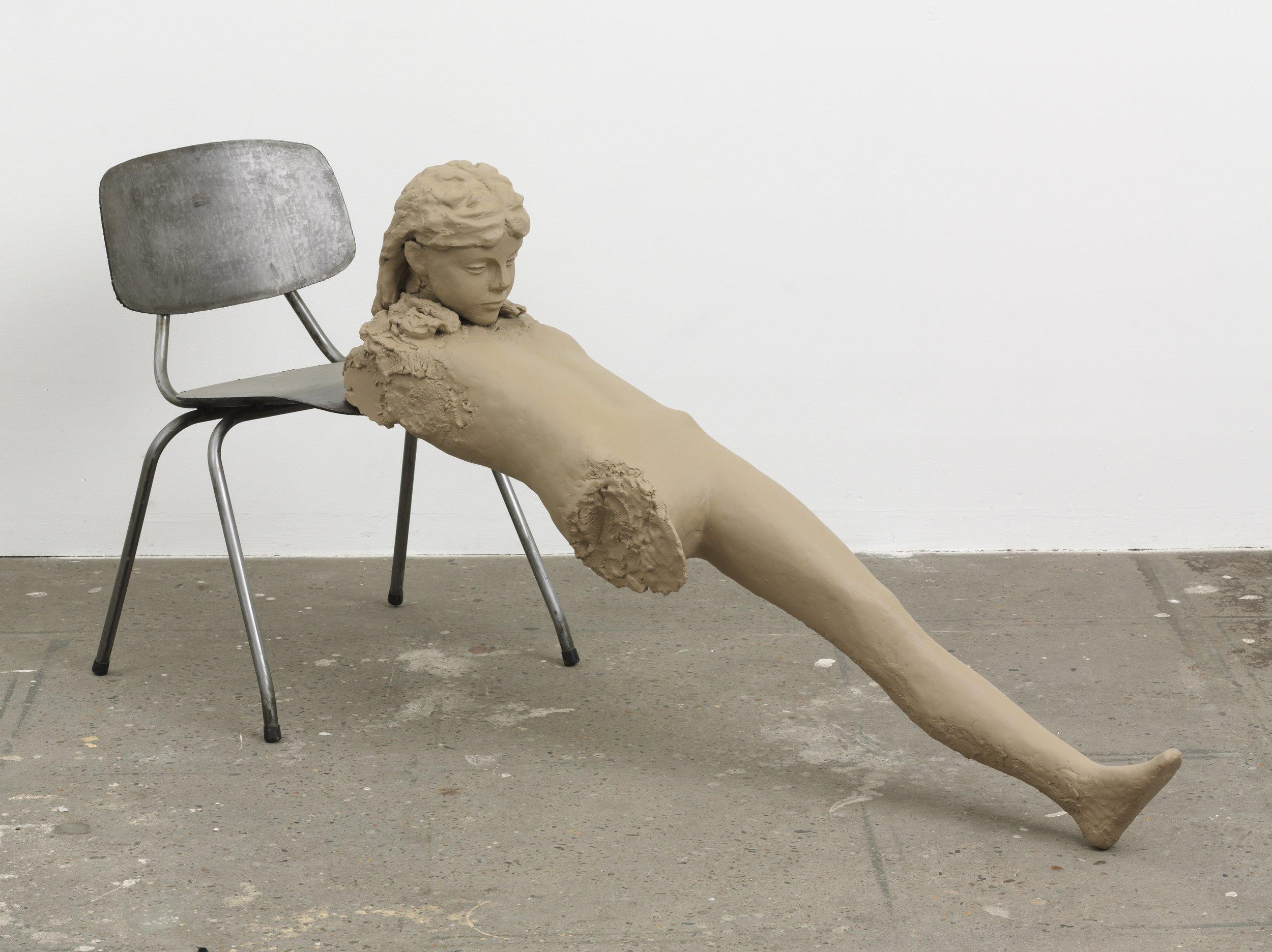 Mark Manders, Clay Figure with Iron Chair, 2009, 81 x 177 x 59 cm, Courtesy Zeno X Gallery
