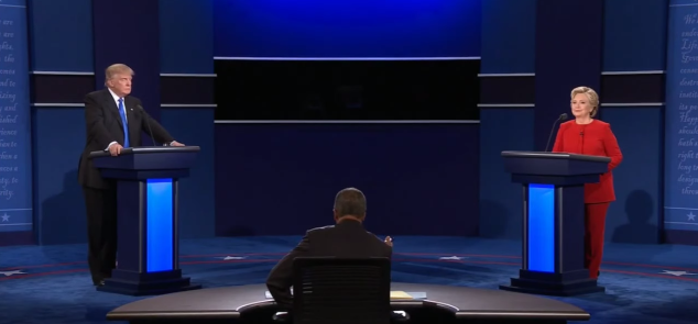 Hofstra Univ. Presidential Debate 9/26/16 - Donald Trump (left), Hillary Clinton (Right), Moderator Lester Holt (center)