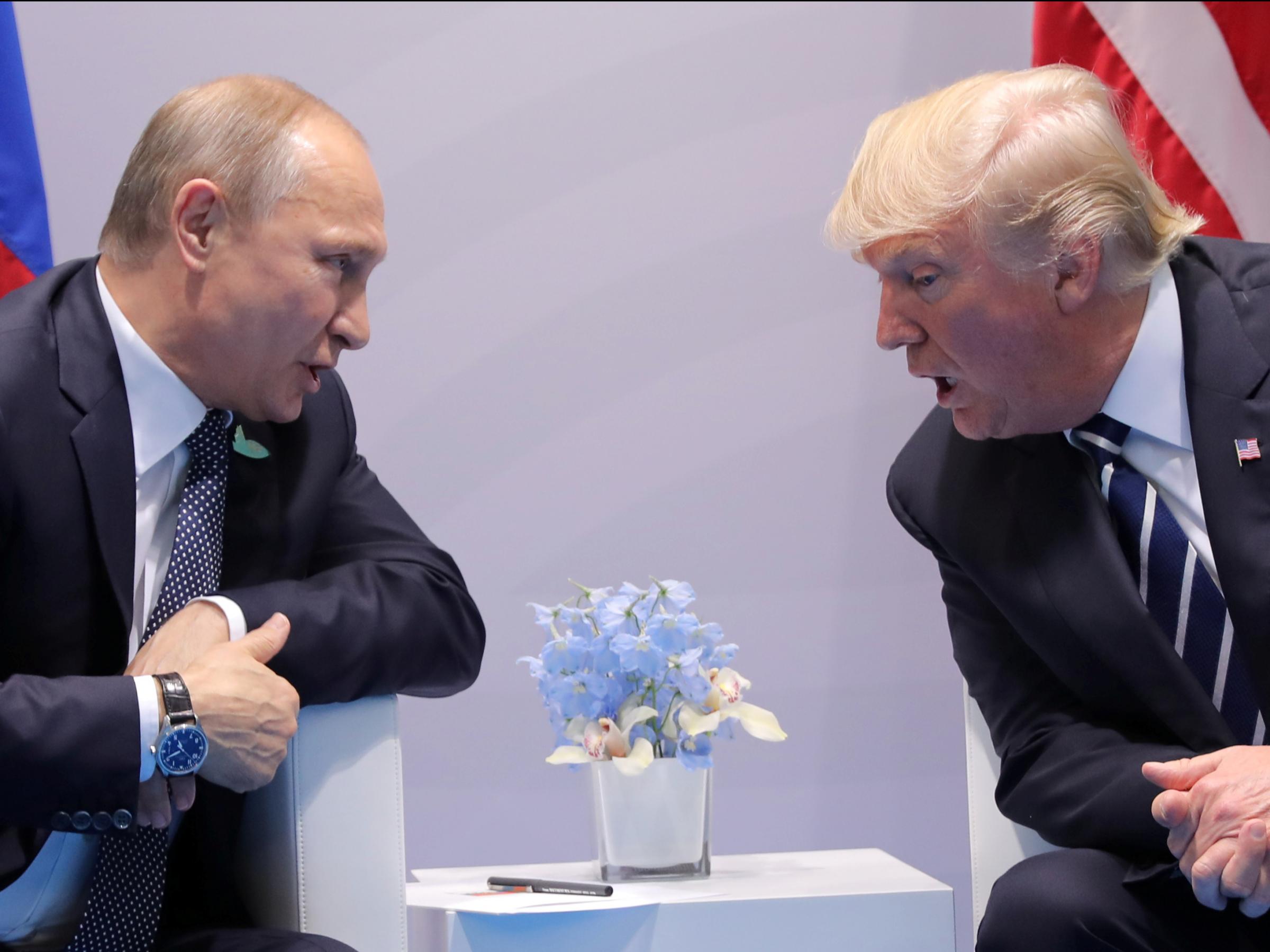 Vladimir Putin and Donald Trump at the G20 Summit. Credit:Carlos Barria/Reuters