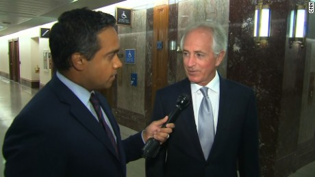 CNN's Manu Raju (left), Sen. Bob Corker (right) Credit: CNN