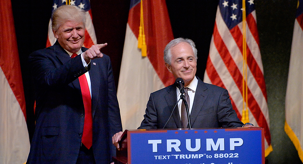 Corker endorsed Trump prior to the Nov election in 2016. Credit: Getty via Politico