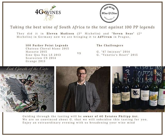 The tasting of the year with 12 limited seats. Get yours now and click here:  http://www.whatwelike.cz/cooking-classes/23/9/2019/100-parker-point-legends-vs-g-the-south-african-cult-wine