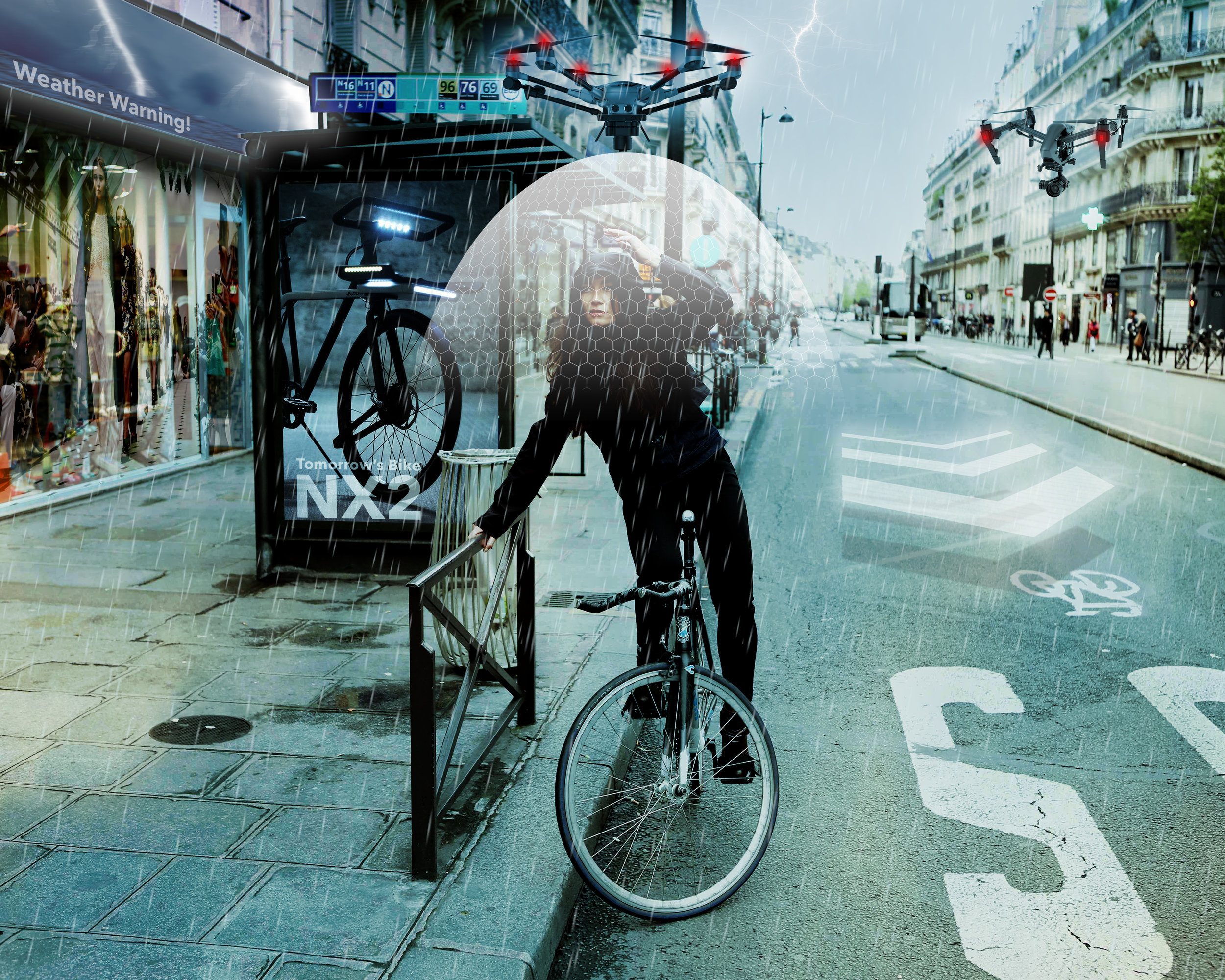 Technology can make urban life better for all, for example, mini electric drones can be used to provide rain shelter that follows the cyclists using GPS technology that already exists.