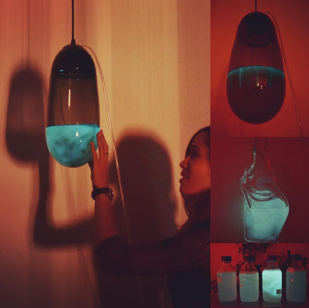 Our Bioluminescent Capsule light we designed, handcrafted by Isaac Katzoff and filled with the bacteria grown by Biologist Dr Siousxie Wiles.