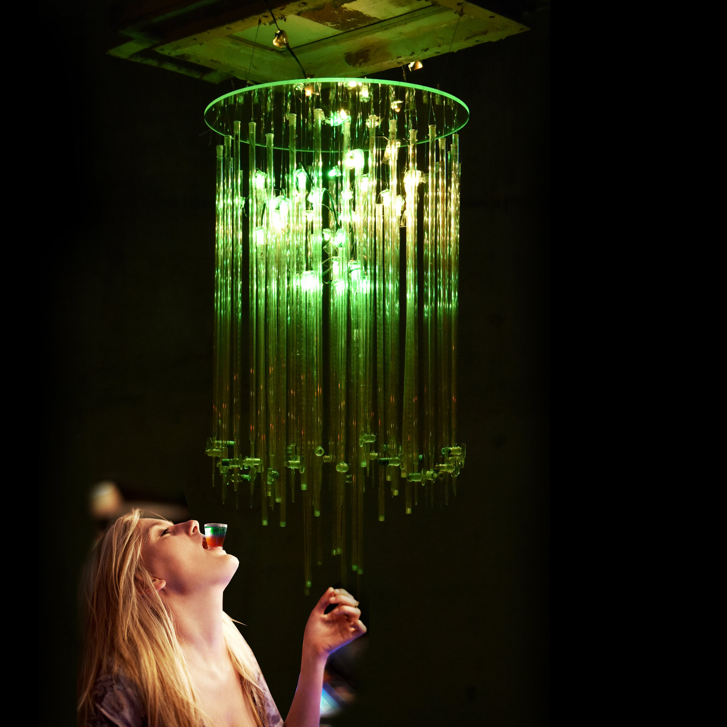 'Tequila chandelier' was a fun part of our future focused exhibition that we held, which explored how new technologies including biotechnology and smart technology could change our lives. On opening night we did in fact fill it with tequila, to provide the perfect tonic for a good time to all our visitors!