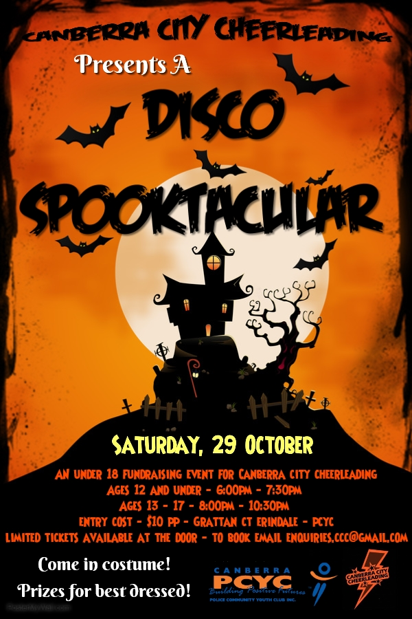 Canberra City Cheerleading's Disco Spooktacular poster