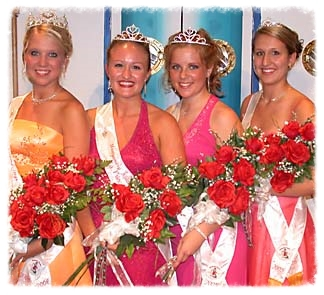 2005 Kolacky Days Royalty, left to right, Queen Samantha Barnett, First Princess Holly Ilg, Second Princess Ashley Rosier, and Miss Congeniality Nicole Skluzacek.