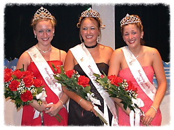 The 2003 Kolacky Days Royalty. From left: Queen Holly Vlasak, First Princess and Miss Congeniality Rozlynn Korbel, Second Princess Jill Hoefs.